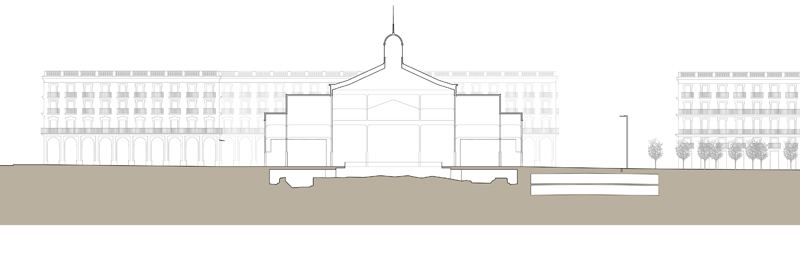 cross section through the market building