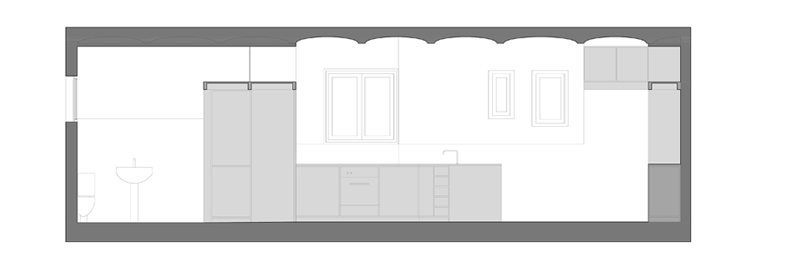 long section through kitchen-dining room